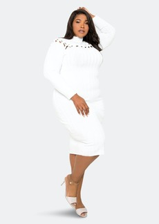 Buxom Couture Sweater Dress With Knot Detail - 2X - Also in: 1X, 3X