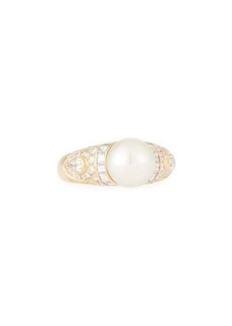 Bvlgari Estate 18k Yellow Gold Diamond & Pearl Bypass Ring wwsNXVpbU