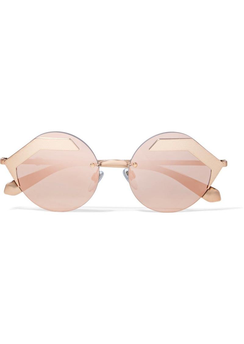 32d0bb58c Bvlgari Serpenti round-frame rose gold-plated mirrored sunglasses ...