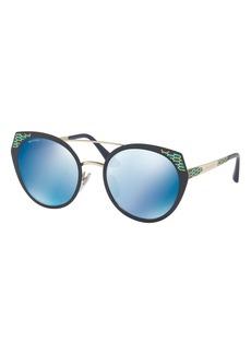Bvlgari Serpenti Round Mitered Metal Sunglasses