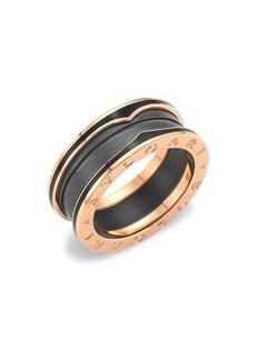 Bvlgari B.zero1 18K Rose Gold & Black Ceramic Ring