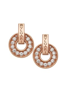 Bvlgari Essential 18K Rose Gold & Diamond Openwork Earrings