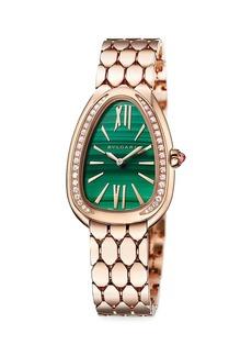 Bvlgari Lady Serpenti Seduttori 18K Rose Gold, Diamond & Malachite Dial Bracelet Watch