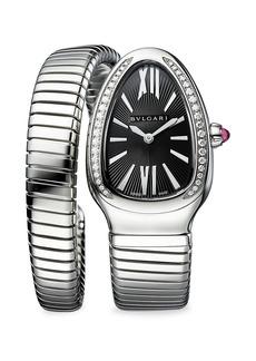 Bvlgari Lady Serpenti Seduttori Stainless Steel, Diamond & Black Dial Bracelet Watch