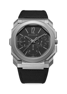 Bvlgari Octo Finissimo Stainless Steel Chronograph Rubber-Strap Watch