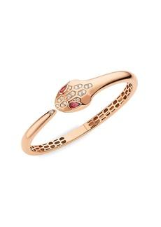 Bvlgari Serpenti Seduttori 18K Rose Gold, Diamond & Rubellite Bangle Bracelet