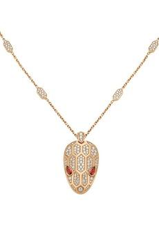 Bvlgari Serpenti Seduttori 18K Rose Gold, Diamond & Rubellite Pendant Necklace
