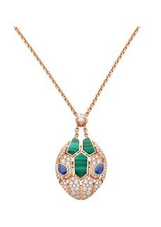 Bvlgari Serpenti Seduttori 18K Rose Gold, Diamond, Malachite & Sapphire Pendant Necklace
