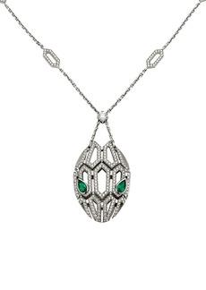 Bvlgari Serpenti Seduttori 18K White Gold, Diamond & Emerald Pendant Necklace