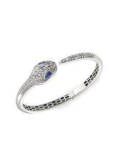 Bvlgari Serpenti Seduttori 18K White Gold, Diamond & Sapphire Bangle Bracelet