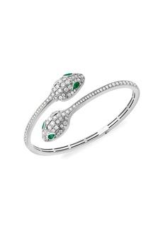 Bvlgari Serpenti Seduttori 18K White Gold, Emerald & Diamond 2-Head Bangle Bracelet