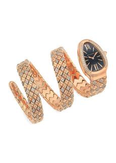 Bvlgari Serpenti Spiga 18K Rose Gold & Diamond Double Twist Watch
