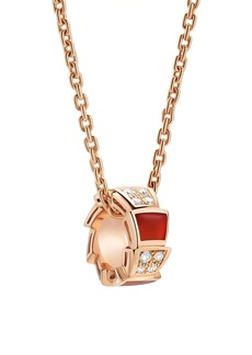 Bvlgari Serpenti Viper 18K Rose Gold, Diamond & Carnelian Pendant Necklace