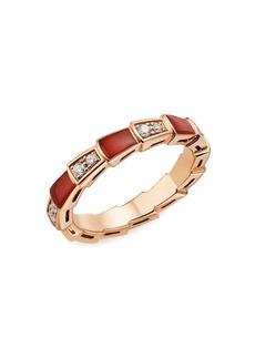 Bvlgari Serpenti Viper 18K Rose Gold, Diamond & Carnelian Ring