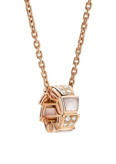 Bvlgari Serpenti Viper 18K Rose Gold, Diamond & Mother-Of-Pearl Pendant Necklace