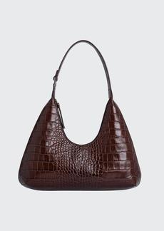 BY FAR Amber Croc-Embossed Shoulder Bag