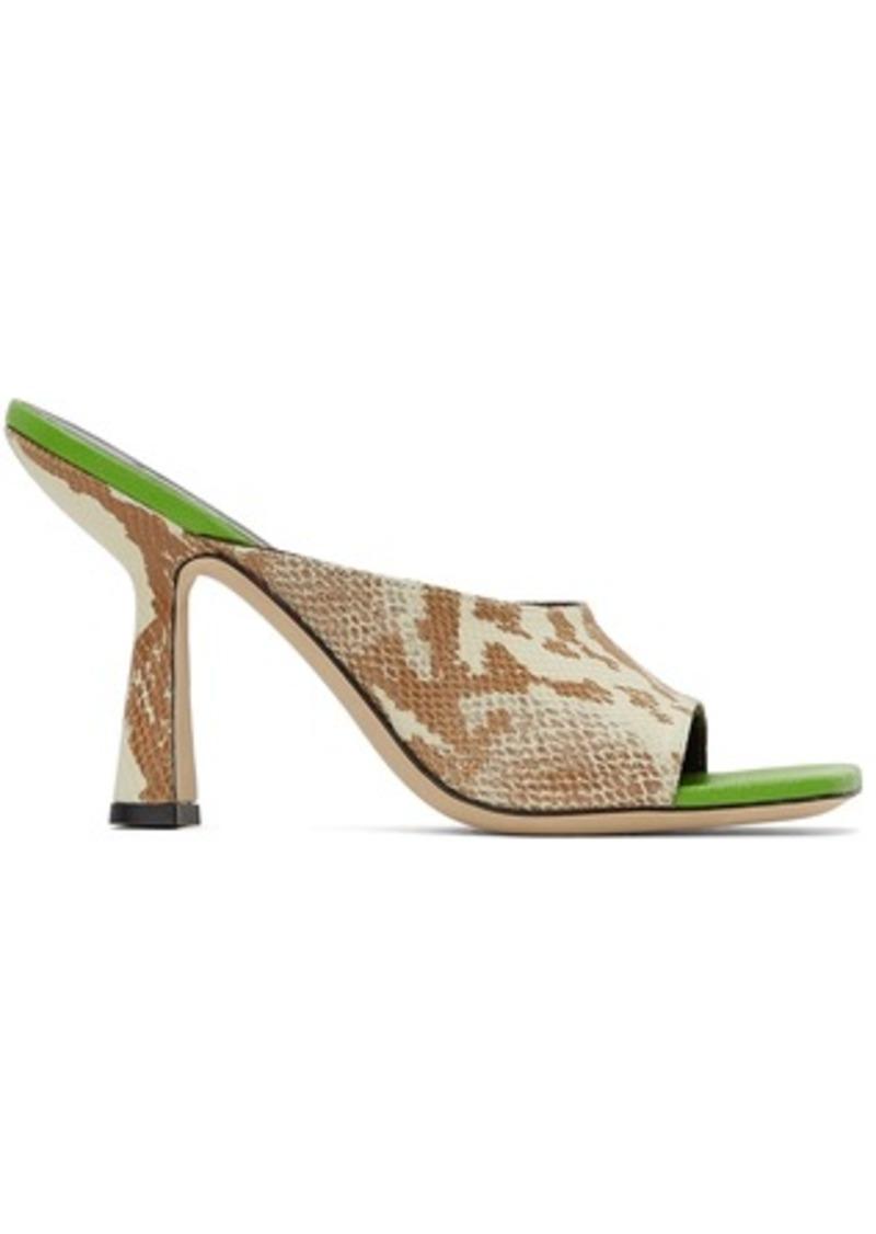 BY FAR Beige & Green Snake Zaya Heeled Sandals