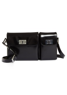 By Far Billy Leather Convertible Crossbody Bag - Black