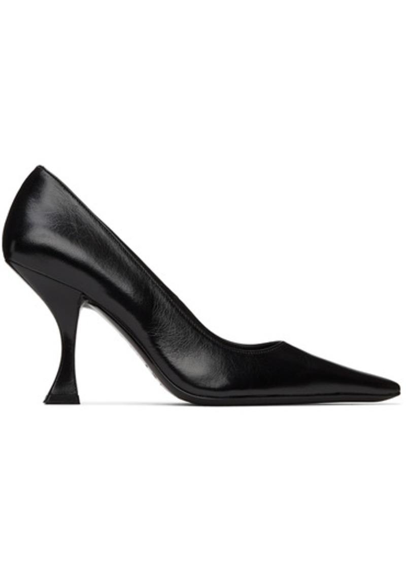 BY FAR Black Creased Leather Viva Heels