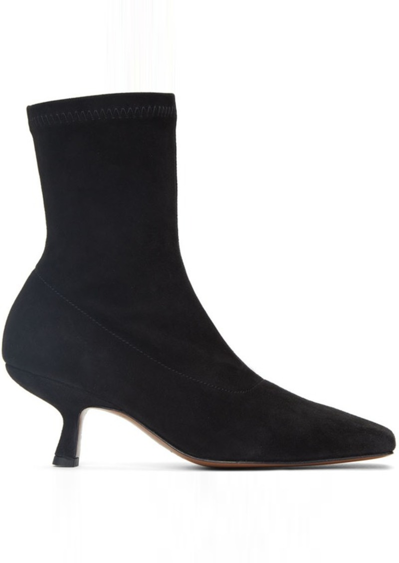 BY FAR Black Suede Audrey Boots