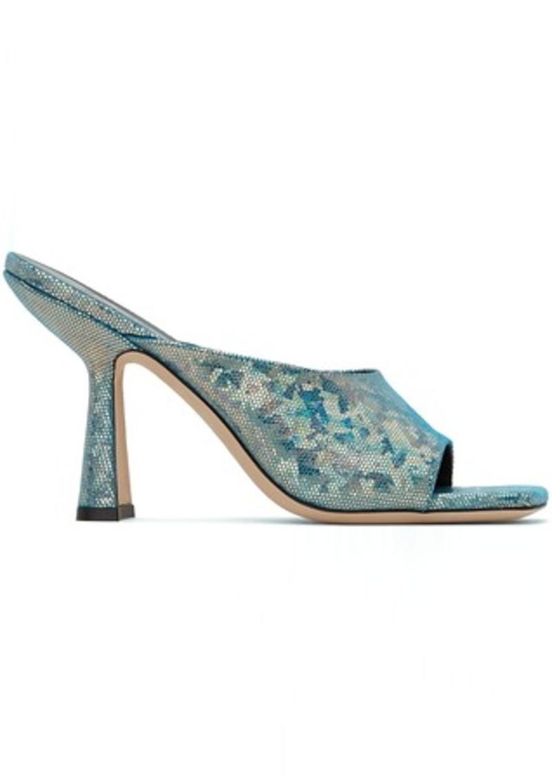 BY FAR Blue Hologram Zaya Heeled Sandals
