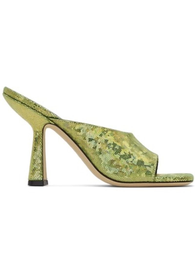 BY FAR Green Hologram Zaya Heeled Sandals