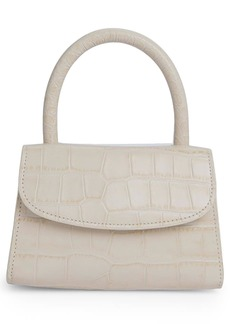 By Far Mini Croc Embossed Leather Top Handle Bag - Ivory