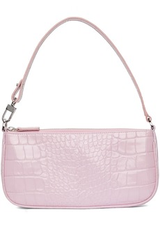 BY FAR Pink Croc Rachel Shoulder Bag