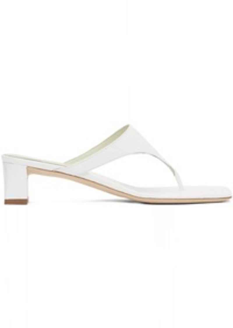 BY FAR White Circular Croc Shawl Heeled Sandals