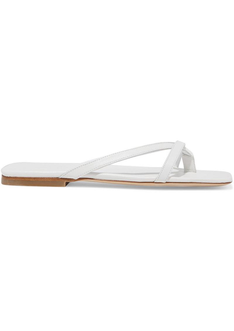By Far Woman Dani Metallic Leather Sandals White