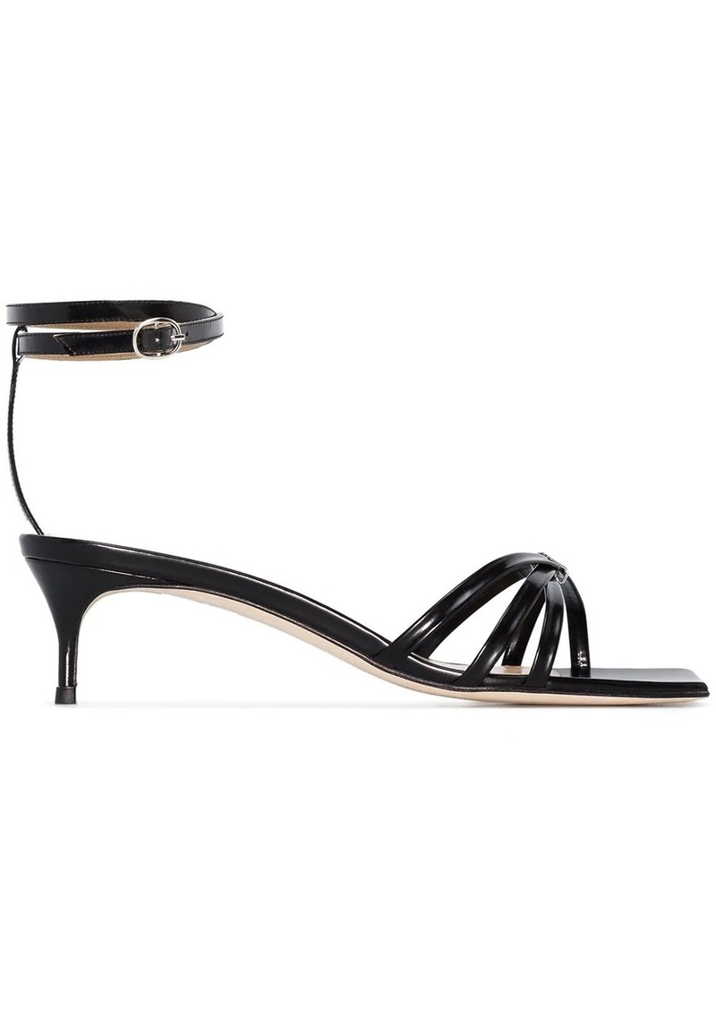 BY FAR Kaia 50mm patent leather sandals