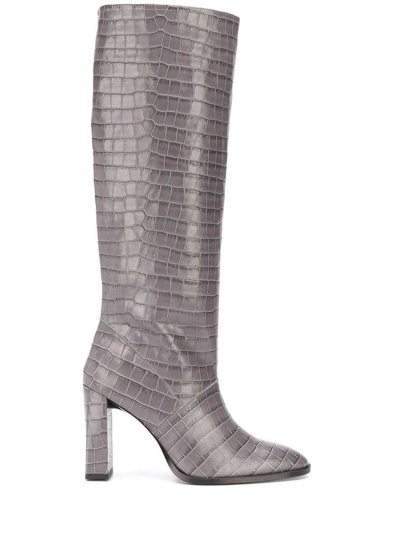 BY FAR knee-length croc effect boots