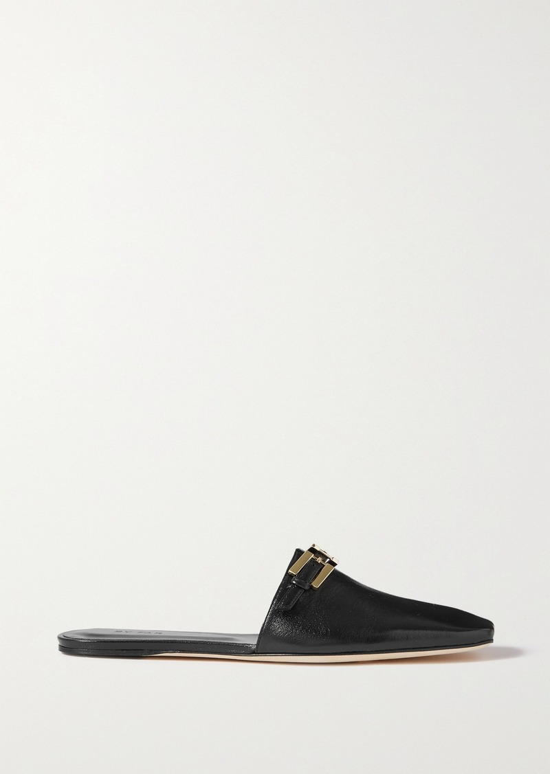 BY FAR Rado Buckled Creased Glossed-leather Slippers