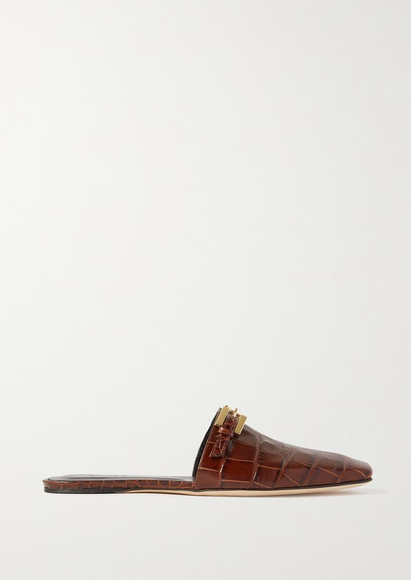 BY FAR Rado Buckled Croc-effect Leather Slippers