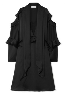 By Malene Birger Alberto Cold-shoulder Ruffled Satin Mini Dress