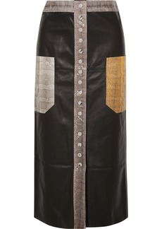 By Malene Birger Amalin Watersnake-trimmed Leather Midi Skirt