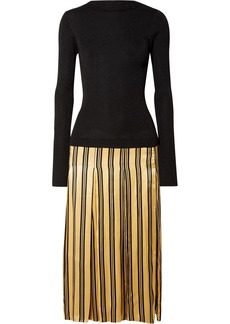 By Malene Birger Lorenas ribbed-knit and striped satin midi dress