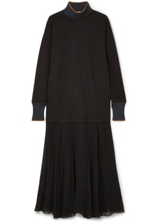 By Malene Birger Lucillas metallic-trimmed pleated georgette dress