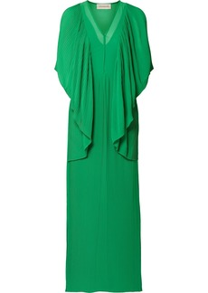 By Malene Birger Middanna draped plissé-chiffon maxi dress