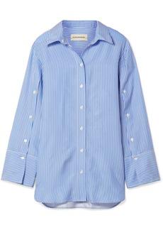 By Malene Birger Nadeonso striped satin-twill shirt