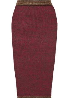 By Malene Birger Vivenda metallic ribbed stretch-knit midi skirt