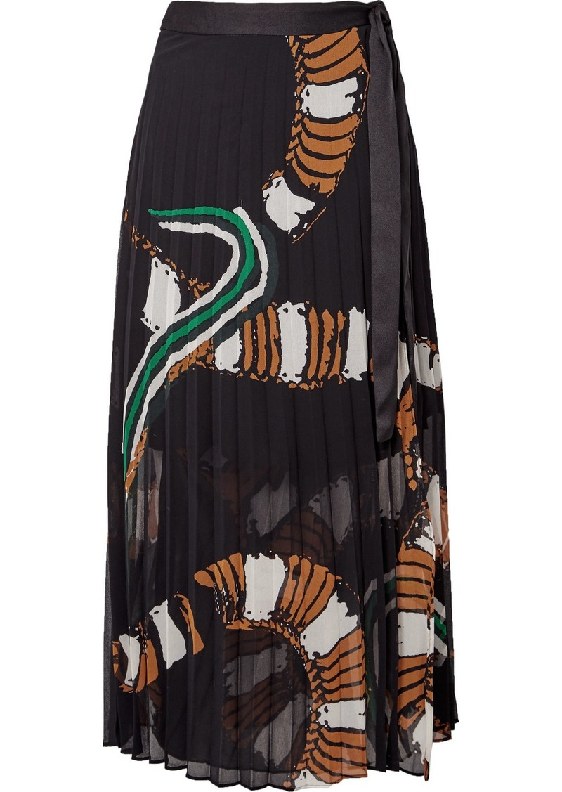 ea20c63865 By Malene Birger Weaver pleated printed chiffon wrap midi skirt | Skirts