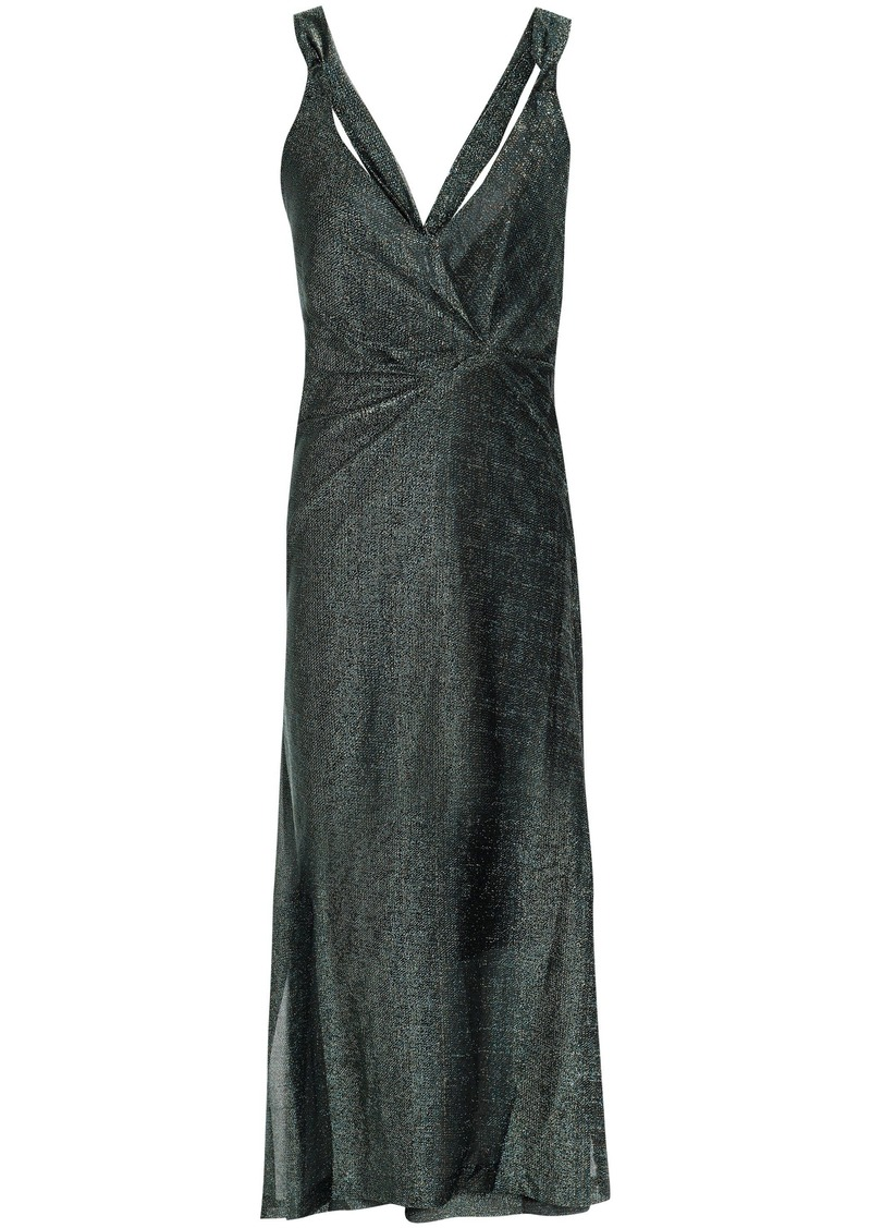 By Malene Birger Woman Gathered Metallic Knitted Midi Dress Grey Green