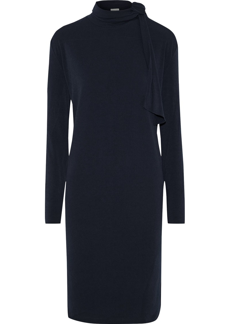 By Malene Birger Woman Gulia Pussy-bow Stretch-crepe Dress Navy