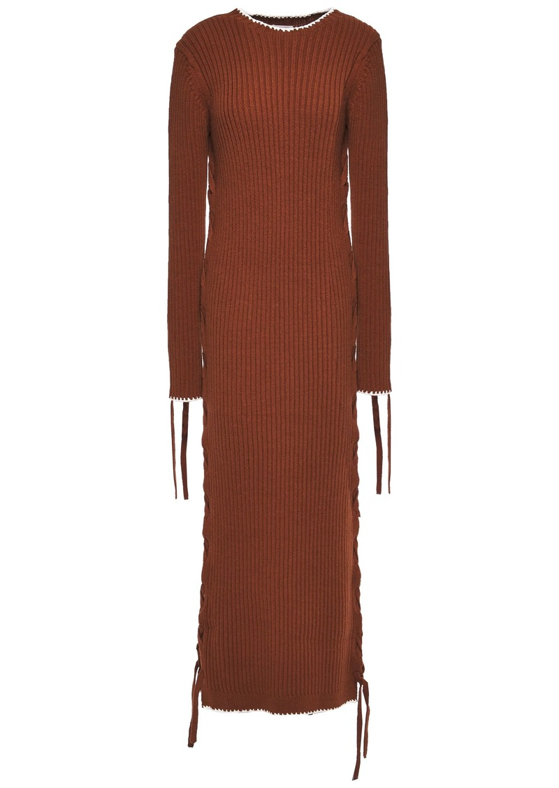 By Malene Birger Woman Lace-up Ribbed Cotton Midi Dress Brown