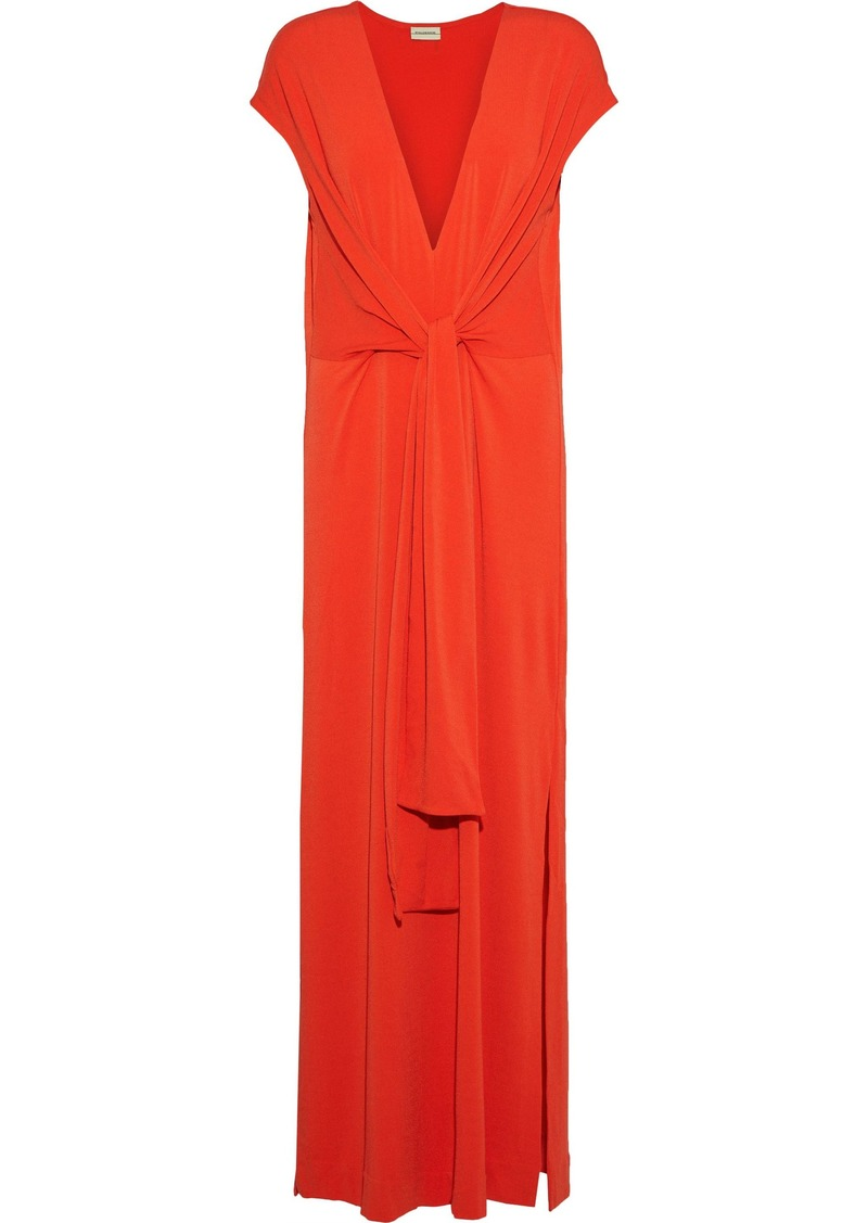 By Malene Birger Woman Majao Tie-front Crepe-jersey Maxi Dress Tomato Red