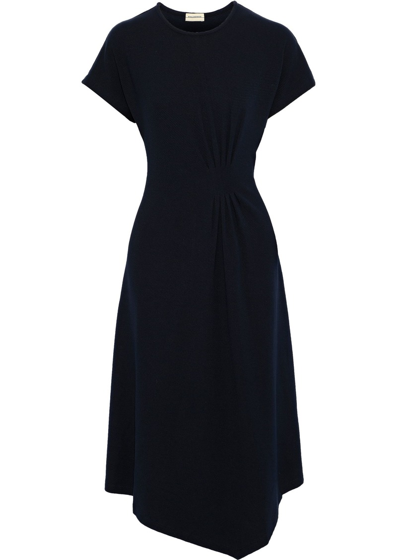 By Malene Birger Woman Sketsy Pleated Ribbed-knit Midi Dress Midnight Blue