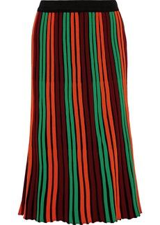 By Malene Birger Woman Striped Ribbed Wool-blend Midi Skirt Bright Orange
