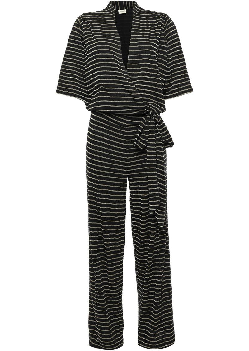By Malene Birger Woman Wrap-effect Metallic Striped Jersey Jumpsuit Black