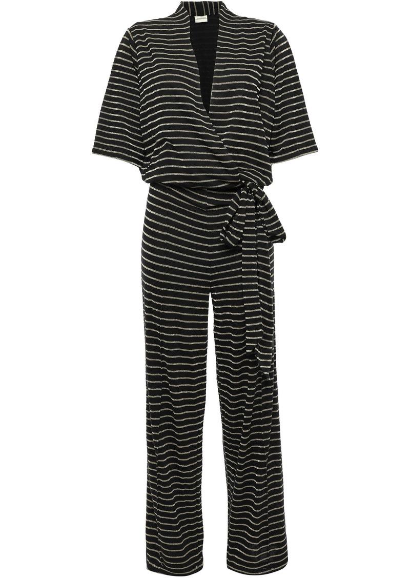 By Malene Birger Woman Wrap-effect Metallic Striped Jersey Jumpsuit Black